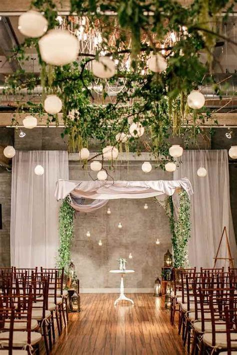 wedding greenery decor  hanging lights marry