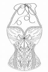 Corset Coloring Adults Line Pearls Flowers Lady Dreamstime Lingerie Illustrations Vectors Lace sketch template