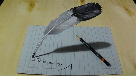 drawing feather trick art illusion  lined paper
