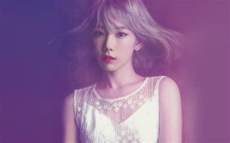 hk taeyeon snsd kpop girl purple pink wallpaper