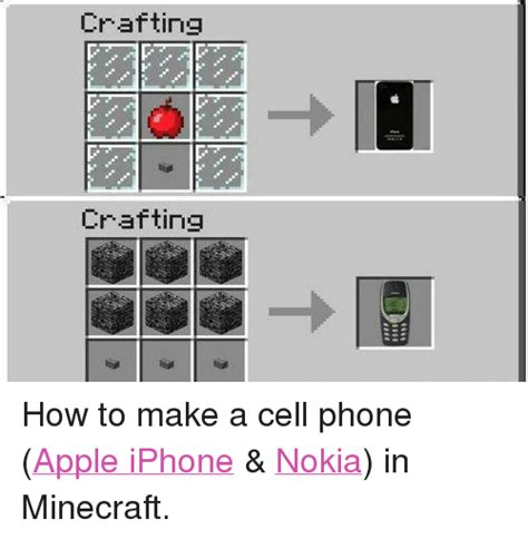 How To Create A Meme On Iphone - crafting crafting how to make a cell phone apple iphone nokia in minecraft apple meme on sizzle