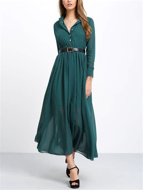 robe longue moderne green sleeve buttons maxi dress