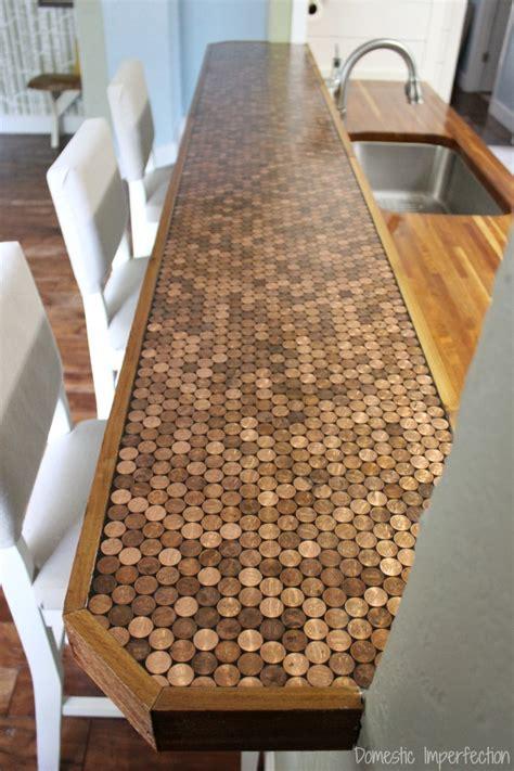 Cheap Diy Kitchen Backsplash Ideas - penny countertop domestic imperfection