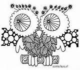 Owl Leaf 3in Zen Skinnystraycat Zentangle sketch template