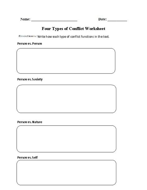 four types of conflict worksheet englishlinx com board