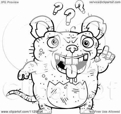 Ugly Rat Cartoon Coloring Confused Clipart Outlined