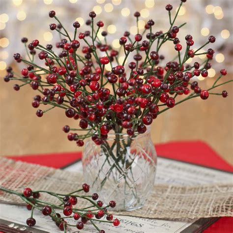 red  burgundy artificial berry picks holiday florals
