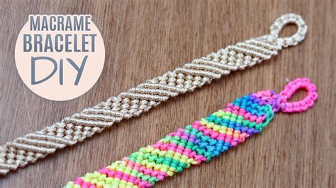 diy diagonal striped macrame bracelet easy tutorial youtube