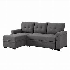 Bowery, Hill, Steel, Gray, Linen, Reversible, Sectional, Sleeper, Sofa, With, Storage