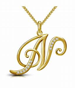 buy webblekart letter n gold plated 925 sterling silver With letter n necklace gold