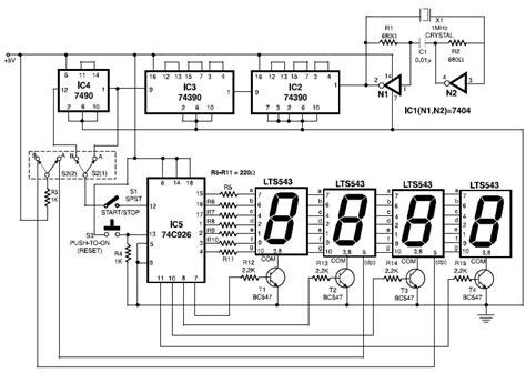 Electronic Stopwatch Circuit Scheme