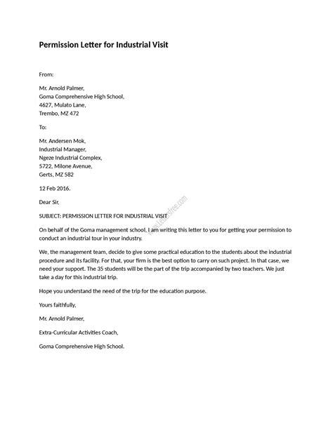 permission letter  industrial visit sample permission