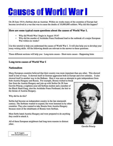 history worksheets on world war 1 homeshealth info