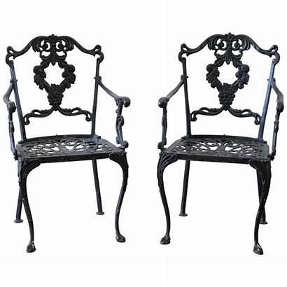 Iron Cast Chairs Garden Antique Furniture Pair