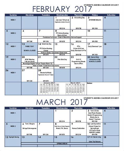 agenda calendar templates  samples examples