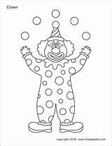 Printable Clown Clowns Coloring Templates Circus Juggling Template Juggler Printables Carnival Crafts Kindergarten Tent Firstpalette Preschool Shapes Activities sketch template