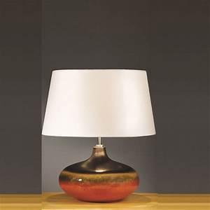 Elstead, Lighting, Colorado, Brown, U0026, Orange, Table, Lamp, Small