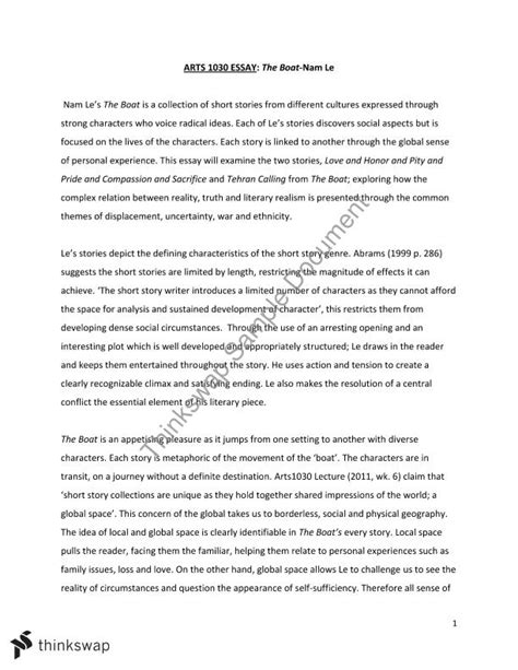 The Boat Nam Le by Arts1030 Essay The Boat Nam Le Arts1030 Introduction