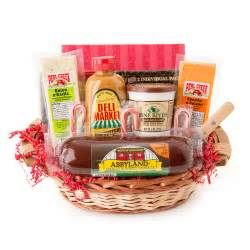 holiday party favorites gourmet summer sausage and cheese small gift basket ebay