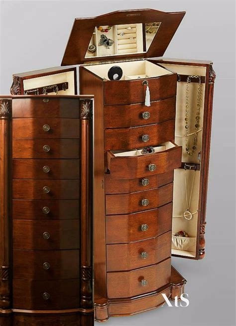 armoire jewelry box wood jewelry armoire box storage chest bedroom furniture