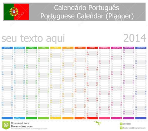 le bureau lumi鑽e du jour 2014 mois portugais de verticale de calendrier de planificateur photo stock image 28470680
