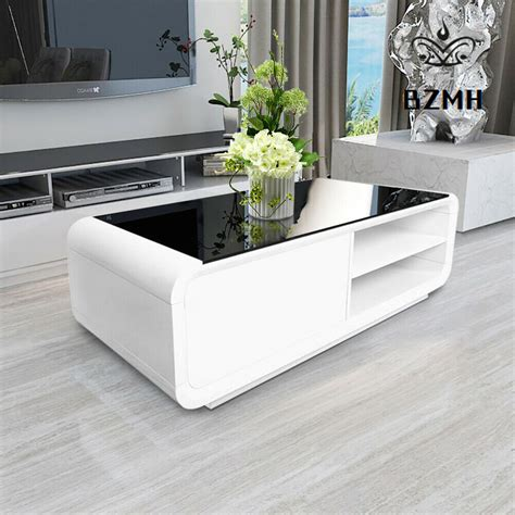 Remote controls, magazines, popcorn bowls… your living room table has a lot to take care of. Black Glass Top White Coffee Table High Gloss MDF 2 ...