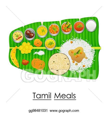 vector art delicious tamil meal  banana leaf eps
