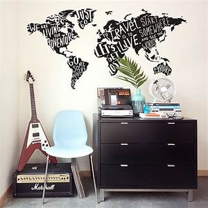 map of the world wall sticker peenmediacom With kitchen colors with white cabinets with world map wall stickers vinyl art decals