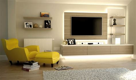 Living Room Yellow Chairs And Ott Wall Units For Modern