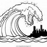 Tsunami Coloring Template Sketch sketch template