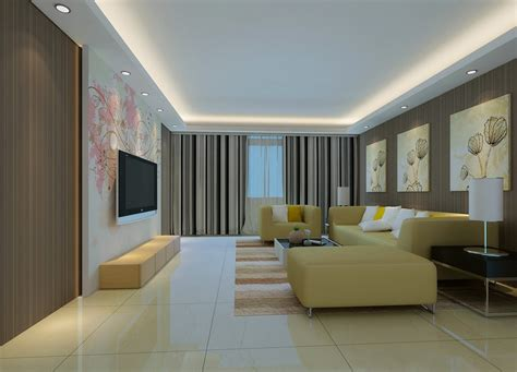 living room ceiling design 3d rendering
