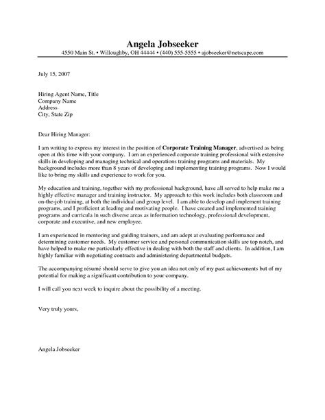 Cover Letter Exles by Sle Cover Letter For Software Trainer Completely