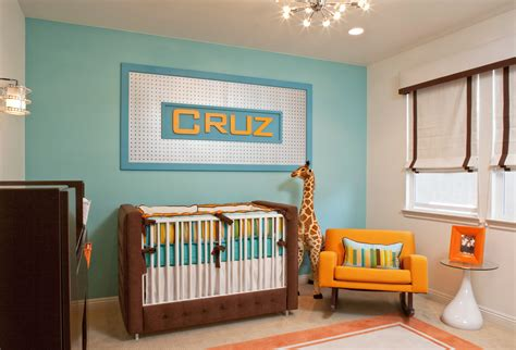 baby boy bedroom themes retro modern nursery by little crown interiors 14082 | retro modern nursery