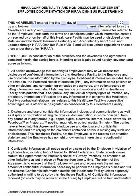 hipaa employee  disclosure agreement nda