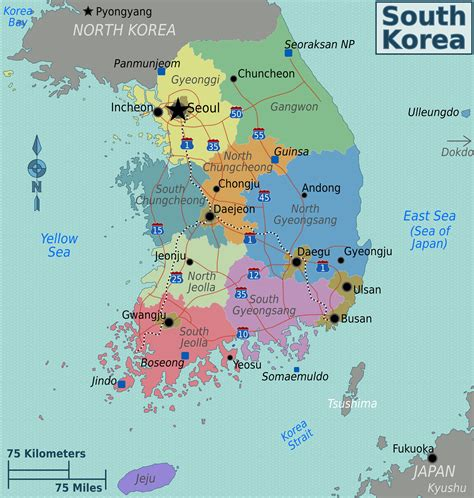 detailed administrative map  south korea south korea