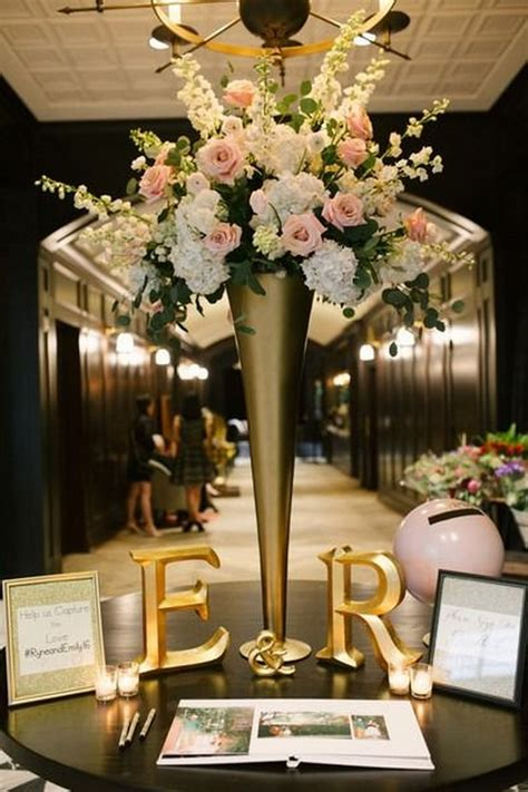 trending wedding guest book sign  table decoration ideas emmalovesweddings