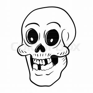 Hand Drawing Skull Head Cartoon For Halloween Concept