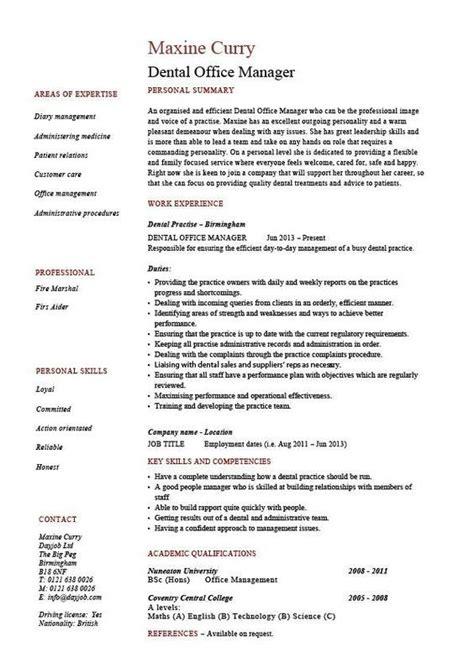 Officer Description For Resume by Dental Office Manager Resume Exle Sle Template