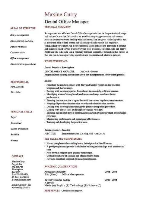 dental office manager resume  sample template
