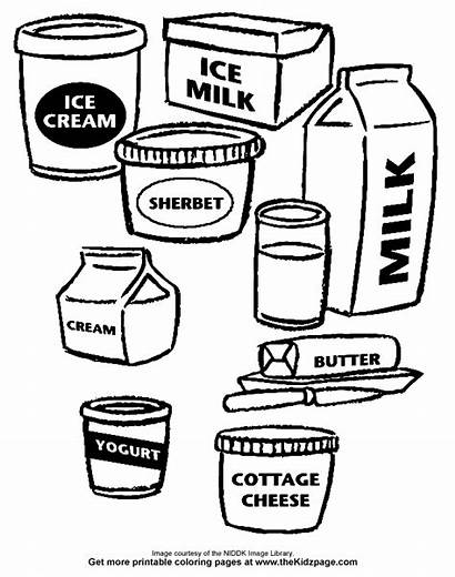 Coloring Pages Dairy Colouring Clipart Printable Sheets