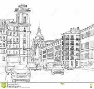 dessin d39une rue de ville illustration de vecteur With dessin plan de maison 3 dessin de ville damsterdam illustration de vecteur