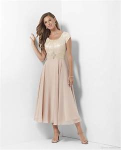 Champagne Tea Length Long Modest Bridesmaid Dresses With ...