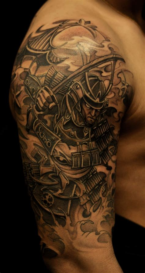 sleeve samurai  pagoda tattoo chronic ink
