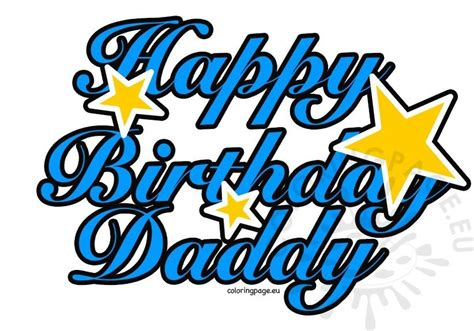 happy birthday daddy stars coloring page