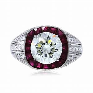 platinum gia certified 219ct round diamond and ruby With wedding ring with ruby
