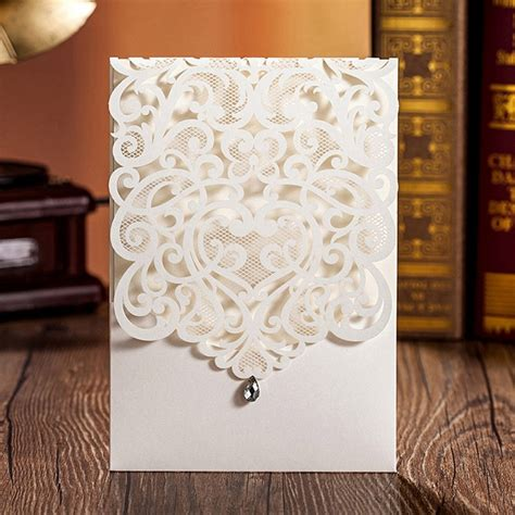 WISHMADE White Gold Laser Cut Wedding Invitations Cards