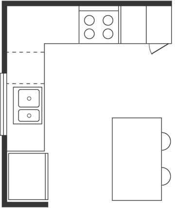 l shaped kitchen floor plan kitchen floor plan basics kitchens layouts 8844