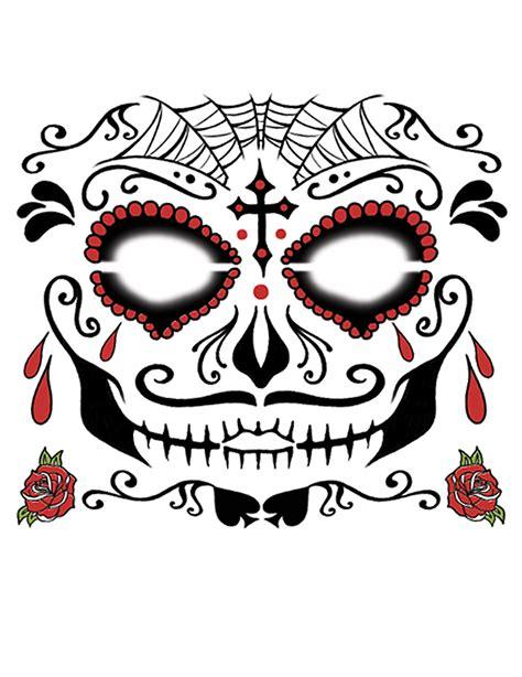 tatouage ephemere visage  de los muertos adulte
