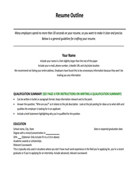 Basic Resume Outline by 34 Best Outline Exles Free Premium Templates