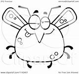 Mosquito Bored Drunk Cartoon Clipart Chubby Coloring Outlined Vector Cory Thoman Royalty sketch template